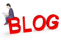 Breites Netz Geschäftsmann-Character Represents Worlds und Wiedergabe des Blog-3d Lizenzfreies Stockbild