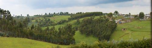 Breites Panorama von äthiopischen Bauernhöfen und von Dorf Stockfoto