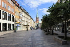 Breitestrasse with view of the Saint James church, Lubeck, Germa Royalty Free Stock Image