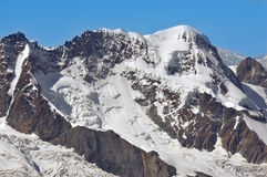 Breithorn. The Breithorn and its glaciers with the kleiner matterhorn to the right in the southern swiss alps above Zermatt Royalty Free Stock Images