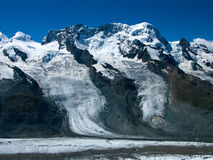 Breithorn in Alps. The Breithorn is a mountain (4164 m height))in the Alps, considered the most easily climbed 4,000 m Alpine peak. This is due to the Klein Stock Image