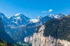 Breithorn and Bernese Alps. Panorama view of Breithorn and the Alps on Bernese Oberland and the Lauterbrunnen valley from Mannlichen station, Switzerland Royalty Free Stock Photography