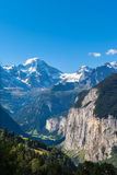Breithorn and Lauterbrunnen valley Stock Photo
