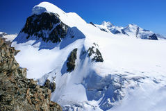 Breithorn peak in Swiss Alps seen from klein Matterhorn Stock Image