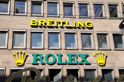 Breitling和劳力士商店 免版税图库摄影
