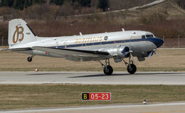 Breitling DC-3 flygplan i Zagreb Arkivfoton