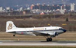 Breitling DC-3 flygplan i Zagreb Royaltyfria Foton