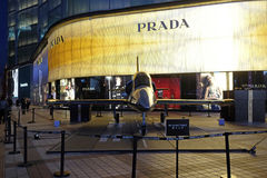 Breitling model aircraft on display outside Italian apparel and accessories house Prada in Beijing Stock Photo