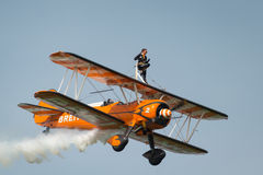 Breitling Wing Walkers. Abingdon, UK - 4th May, 2014:  Breitling Wing Walker team displaying at Abingdon Airshow Royalty Free Stock Photo