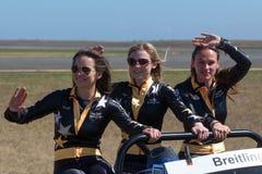 Breitling Wing Walkers Danielle Hughes, Freya Paterson e Sarah Tanner imagens de stock
