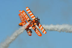 Breitling Wingwalkers. Breitling Wingwalker at the Flight to the past Air show, Kidlington 21 Aug 2011 Royalty Free Stock Images