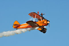 Breitling Wingwalkers. Breitling Wingwalker at the Flight to the past Air show, Kidlington 21 Aug 2011 Royalty Free Stock Photography