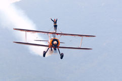 Breitling wingwalking Royalty Free Stock Photo