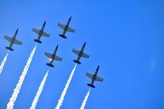 Breitlingen Jet Team på deras amerikan turnerar arkivbilder