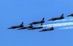 Breitlings Close Flying Over Seattle Washington Royalty Free Stock Photos
