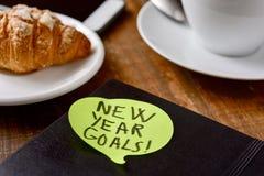 Brekafast、智能手机和文本新年目标 免版税库存图片