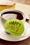 Brekafast en tekst gelukkige 2017 Stock Foto's