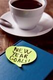 Brekafast y metas del Año Nuevo del texto Fotos de archivo libres de regalías