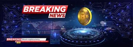 Brekend nieuws een cryptocurrency, bitcoin stock illustratie