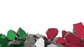 Brekende muur met geschilderde vlag van Italië Italiaanse crisis conceptuele 3D animatie stock footage