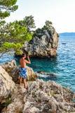 Brela岩石,克罗地亚 免版税库存照片