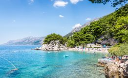 Brela海滩风景在克罗地亚 库存照片