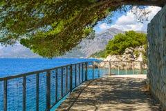 Brela, Croatie avec la Mer Adriatique et l'ombre des pins en été La Dalmatie, Makarska la Riviera Photo libre de droits