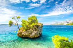 The Brela rock on Adriatic sea. stock photo