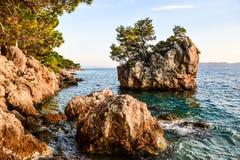 Brela rock, Croatia. Brela Rock, Punta Rata Beach, Makarska Riviera, Croatia royalty free stock photos