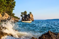 Brela rock, Croatia. Brela Rock, Punta Rata Beach, Makarska Riviera, Croatia royalty free stock photo