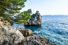 Brela rock, Croatia. Rock in the resort town of Brela, Makarska Riviera, Croatia stock image
