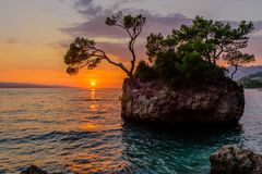 Brela Stone Kamen Brela - a symbol of Brela, a popular natural attraction in Croatia. stock images