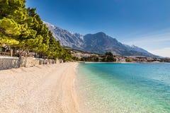 Brela Village,Beach And Biokovo - Makarska,Croatia royalty free stock photography