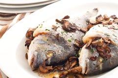 Brema de mar cocida con las setas y el perejil Foto de archivo libre de regalías