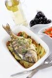 Brema de mar cozida da porca-cabeça Fotografia de Stock