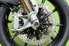 Brembo brake system with ventilated discs stock photos