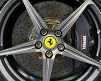 Brembo carbon brake on a Ferrari F12 Berlinetta Royalty Free Stock Photography