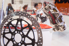 Brembo motorbike brakes at EICMA 2013 in Milan, Italy Royalty Free Stock Photo