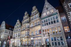 BREMEN, ALEMANIA - ENERO, 4 2015 - ciudad vieja iluminada en tiempo de la Navidad Fotografía de archivo