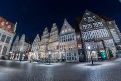 BREMEN, ALEMANIA - ENERO, 4 2015 - ciudad vieja iluminada en tiempo de la Navidad Imagenes de archivo
