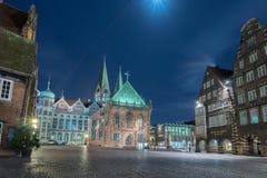 BREMEN, ALEMANIA - ENERO, 4 2015 - ciudad vieja iluminada en tiempo de la Navidad Imagen de archivo