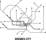 Bremen City map. Bremen subway map available in vector file format Royalty Free Stock Photo