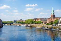Bremen Cityscape, Weser Stock Image