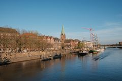 Bremen, Deutschland, Fluss Weser und der Damm von Bremen Stockbilder
