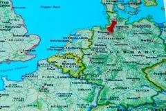 Bremen, Duitsland speldde op een kaart van Europa Stock Foto