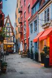 Bremen, Germany, January, 2019 - Colorful houses with Christmas decoration and lights in historic Schnoorviertel. In Bremen, Germany royalty free stock image