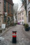 Bremen, Germany, January, 2019 - Colorful houses with Christmas decoration and lights in historic Schnoorviertel. In Bremen, Germany stock images