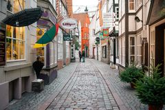 Bremen, Germany, January, 2019 - Colorful houses with Christmas decoration and lights in historic Schnoorviertel royalty free stock images