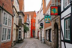 Bremen, Germany, January, 2019 - Colorful houses with Christmas decoration and lights in historic Schnoorviertel. In Bremen, Germany stock photo