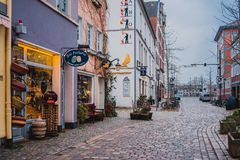 Bremen, Germany, January, 2019 - Colorful houses with Christmas decoration and lights in historic Schnoorviertel. In Bremen, Germany stock photos